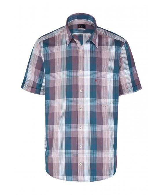 Modernes Hemd im Karo-Look Kurzarm JC90005-52111-357 front